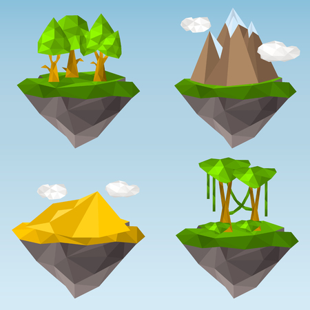 Soaring islands with elements of nature color illustration set