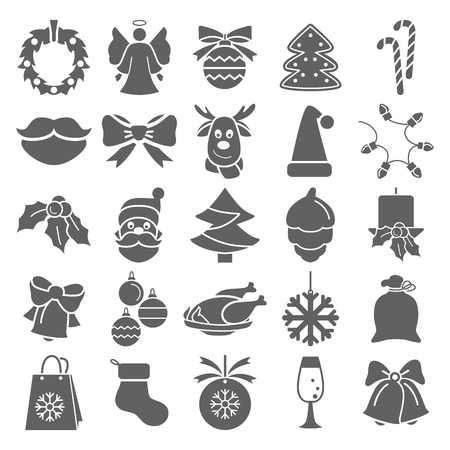 Set of Christmas simple icons for web and mobile design