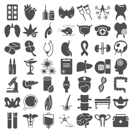 Big medecine and anatomy simple icons set for web and mobile design