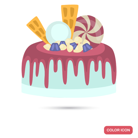 Cake decorated with sweets and crimson icing color flat icon