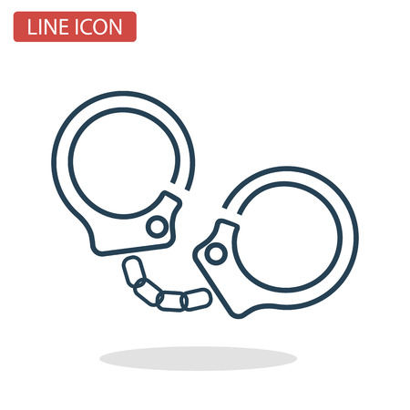 Handcuffs line icon for web and mobile design. Stock Vector - 92510767