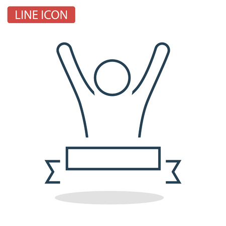 Winner man line icon for web and mobile design.