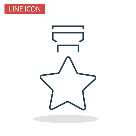 Star medal line icon for web and mobile design. Foto de archivo - 92510777