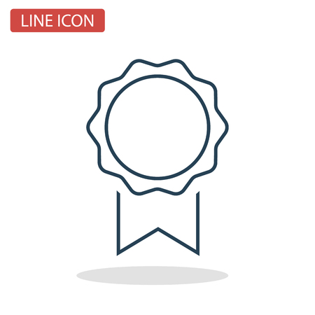 Winner medallion line icon for web and mobile design