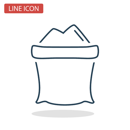 Sugar bag line icon for web and mobile design Çizim
