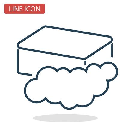 ウェブとモバイルデザインのための石鹸と泡ラインアイコン。  イラスト・ベクター素材