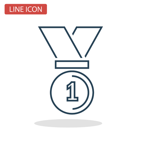 First place medal line icon for web and mobile design Иллюстрация