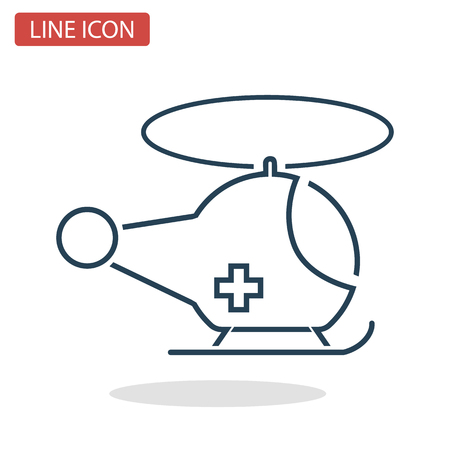 Medical Helicopter line icon for web and mobile design