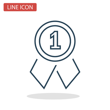 First place medal line icon for web and mobile design. Иллюстрация