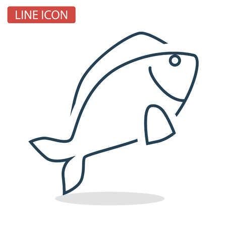Fresh fish line icon for web and mobile design Çizim