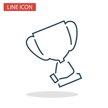 Cup in the hand of champion line icon for web and mobile design. Иллюстрация