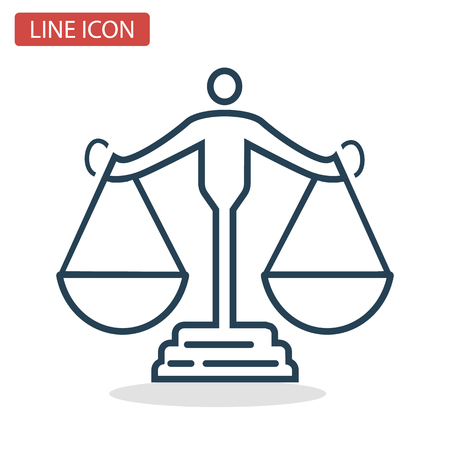 Scales of Justice line icon for web and mobile design.