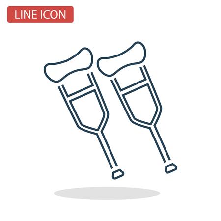 Crutches line icon for web and mobile design.