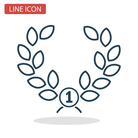 First place winner wreath line icon for web and mobile design Иллюстрация