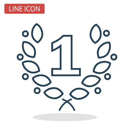 First winner place line icon for web and mobile design. Иллюстрация