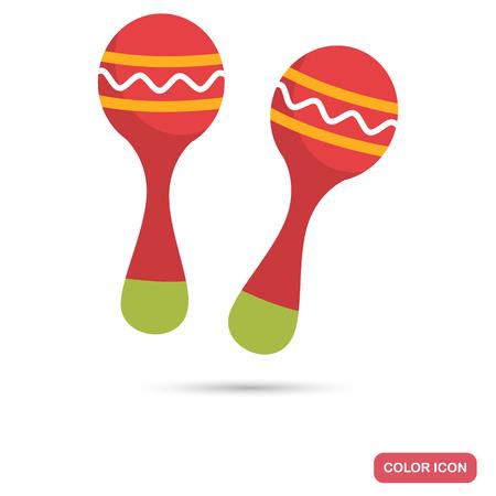 Maracas kleur platte pictogram voor web en mobiel ontwerp