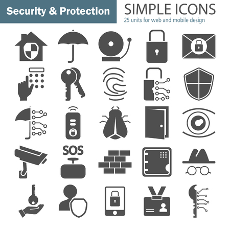 Safety and security simple icons set for web and mobile design.