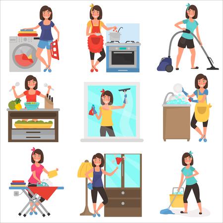 Housework at home color flat illustration set Illustration