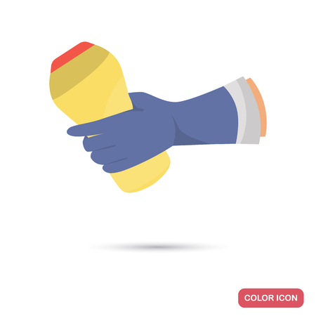 Hand holding cleaning powder bottle color flat icon