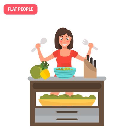 Housewife prepares a vegetable salad color flat illustration Ilustração