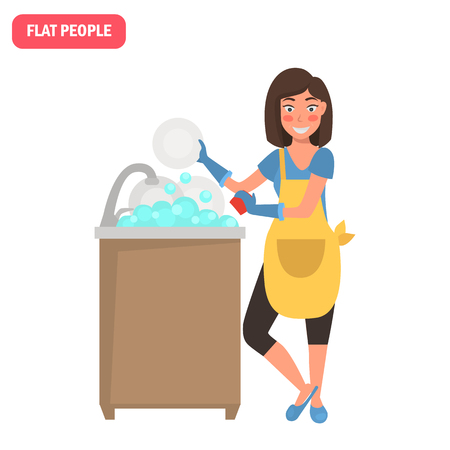 Housewife washes the plates color flat illustration