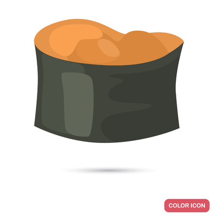 Sushi with sea urchin color flat icon