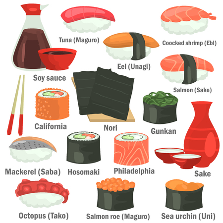 Sushi color flat icons set with names on white background.
