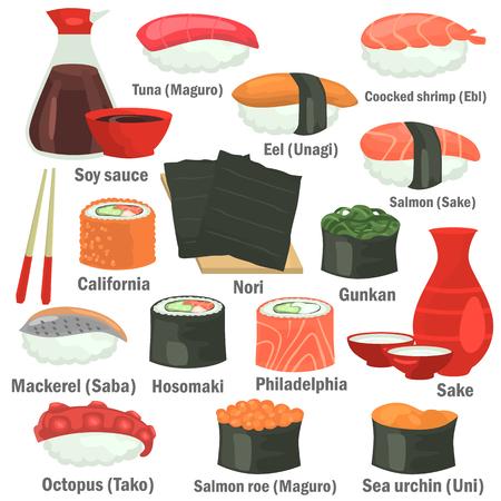 Sushi color flat icons set with names on white background. Reklamní fotografie - 93773219