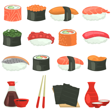 Sushi color flat icons set on white background