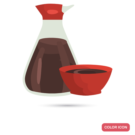 Soy sauce bottle color flat icon Vectores
