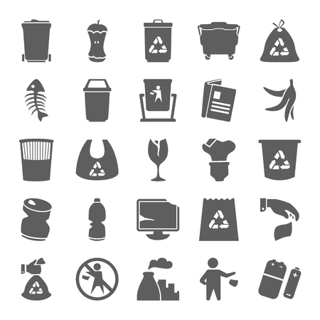 Garbage and trash simple icons set for web and mobile design