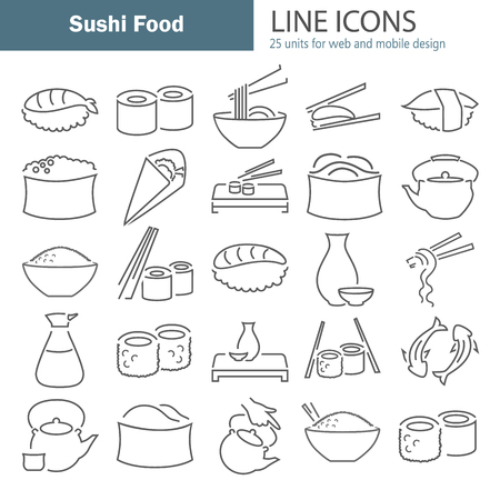 Sushi food line icons set for web and mobile design