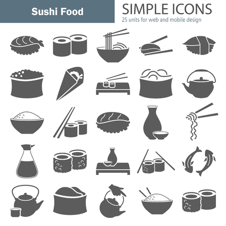 Sushi food simple icons set for web and mobile design
