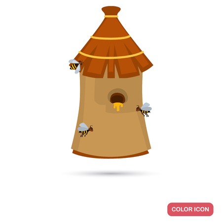Home bee hive color flat icon Illustration