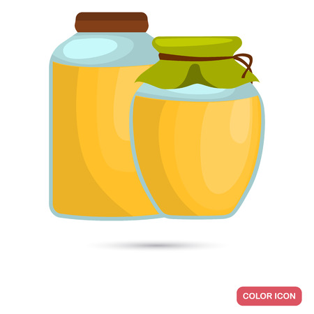 Cans with honey color flat icon