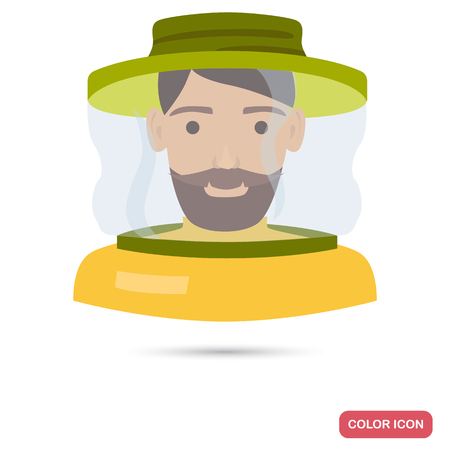 Beekeeper a face mask color flat icon