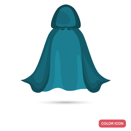 Womens cloak with a hood color flat icon Çizim