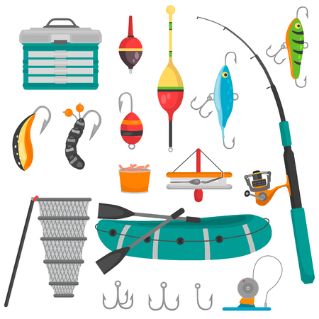 Different fishing equipment color flat icons set Illustration