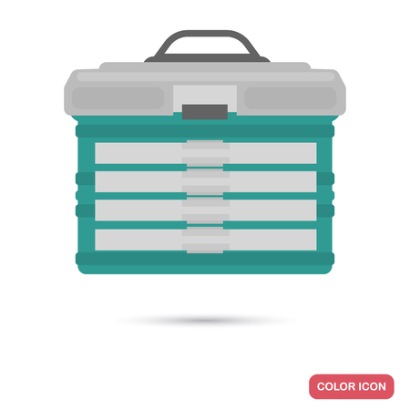 Box for fishing gear color flat icon isolated on white background Illustration