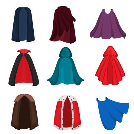 Different cloaks color flat icons set