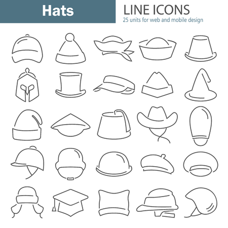 Different hats line icon set isolated on plain background.