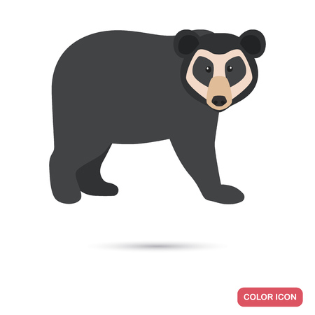 Spectacled bear color flat icon