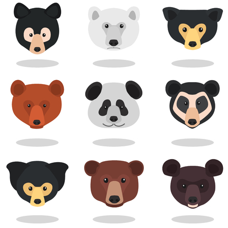 Set of different bear muzzles color flat icons