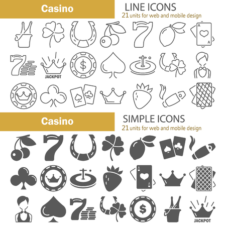 Line and simple casino icons set