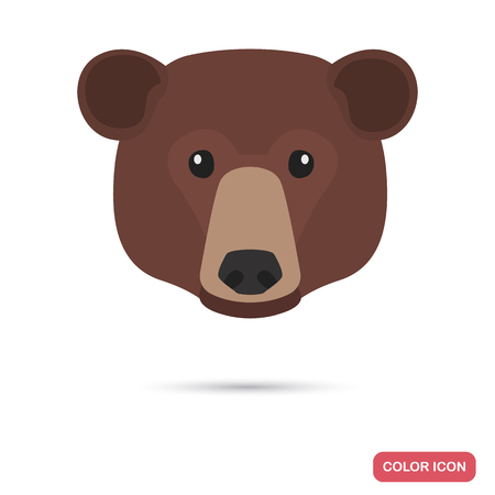 Brown bear muzzle color flat icon