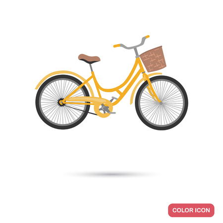 Bicycle with basket color flat icon Zdjęcie Seryjne - 97051527