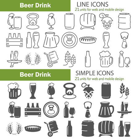 Line and simple beer icons set