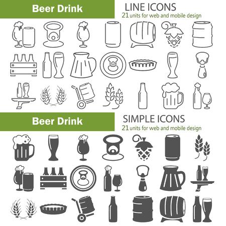 Zestaw ikon linii i proste piwo