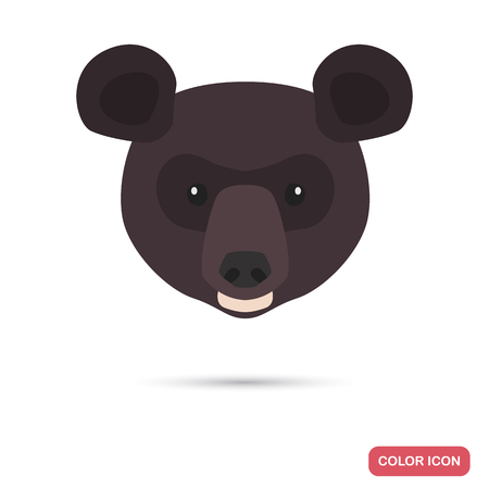 Himalayan bear muzzle color flat icon