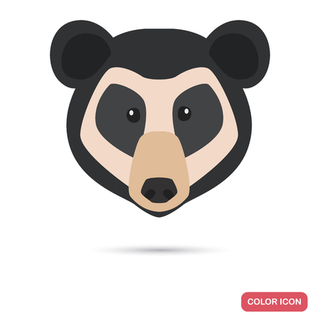 Spectacled bear muzzle color flat icon